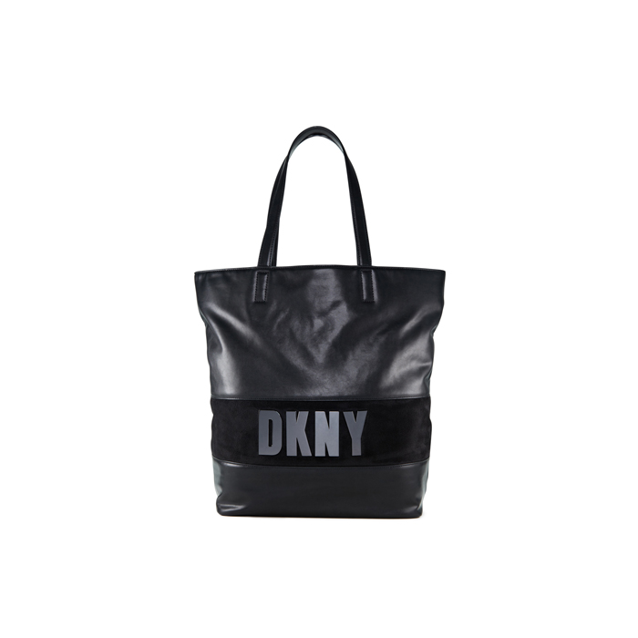 BLACK DKNY METALLIC LETTER TOTE Outlet Online