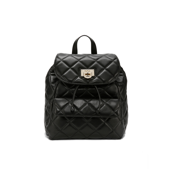 7d42540ef8 BLACK DKNY QUILTED LEATHER TOP FLAP BACKPACK Outlet Online