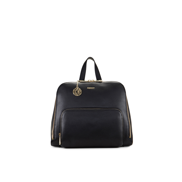 BLACK DKNY TUMBLED LEATHER ZIP TOP BACKPACK Outlet Online