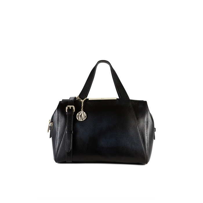 BLACK DKNY TUMBLED LEATHER LARGE SATCHEL Outlet Online