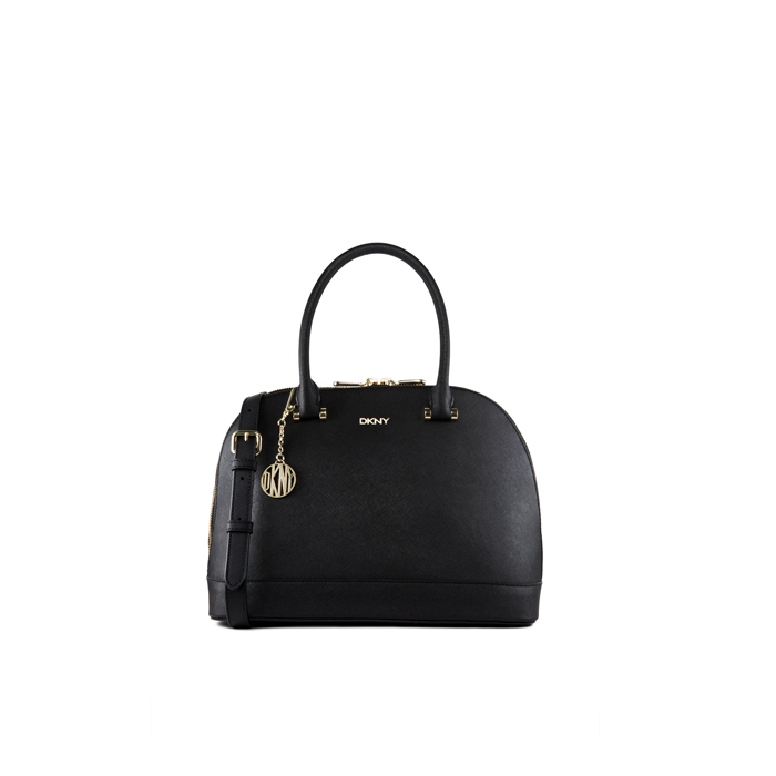 BLACK DKNY SAFFIANO LEATHER ROUND SATCHEL Outlet Online
