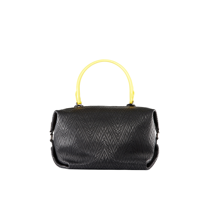 BLACK-YELLOW DKNY QUILTED LEATHER SATCHEL Outlet Online