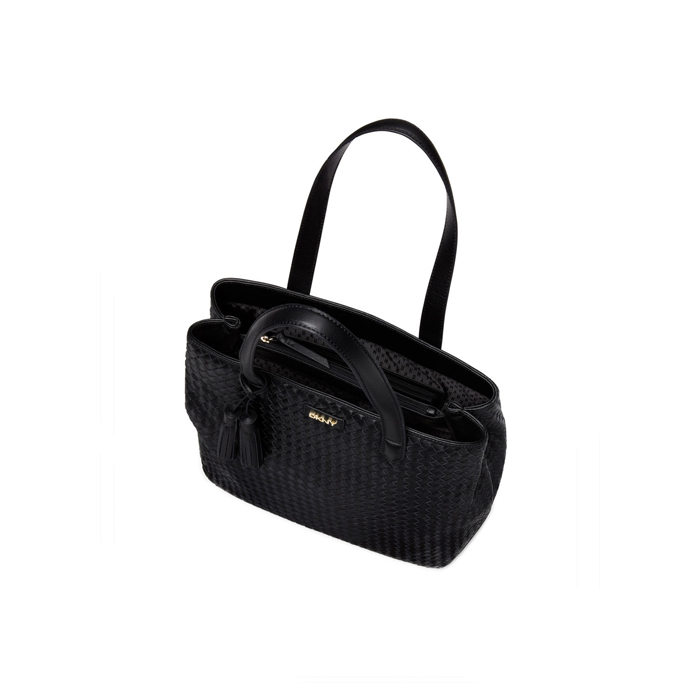 BLACK DKNY WOVEN LEATHER SHOPPER Outlet Online