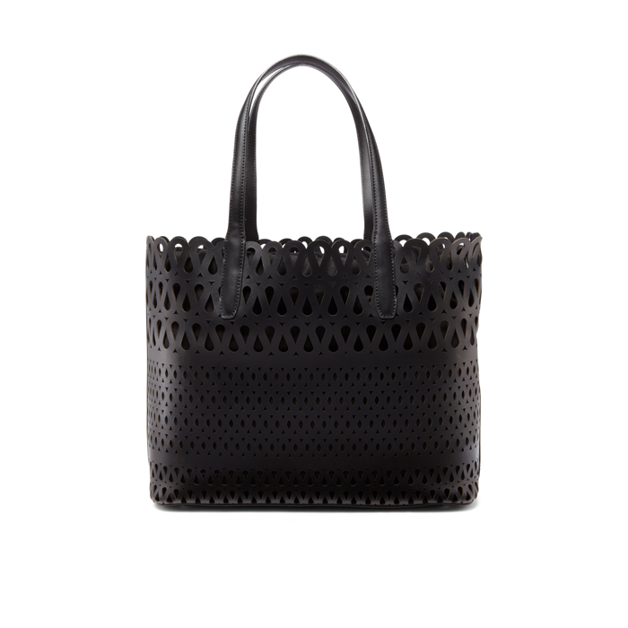 BLACK DKNY PERFORATED LEATHER SHOPPER Outlet Online