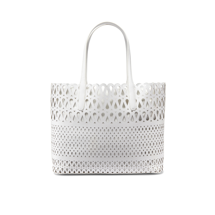 WHITE DKNY PERFORATED LEATHER SHOPPER Outlet Online