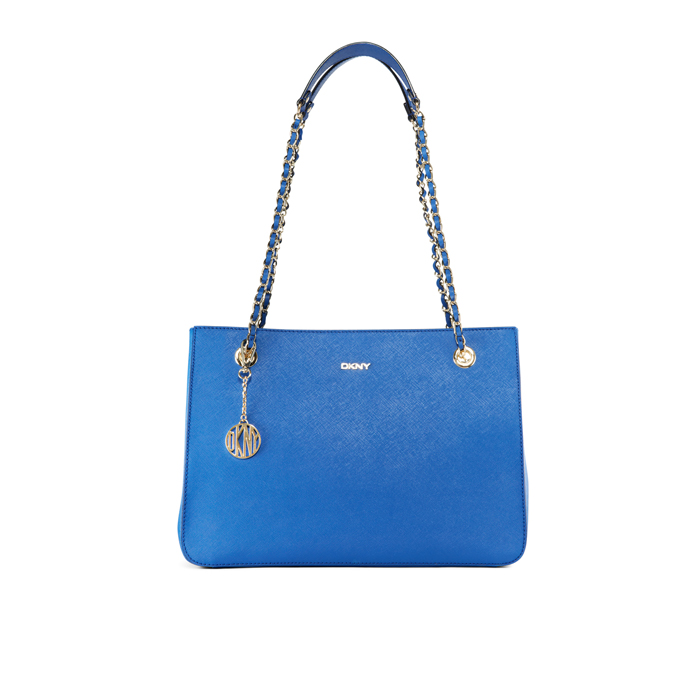 BLUE DKNY SAFFIANO LEATHER CHAIN SHOPPER Outlet Online