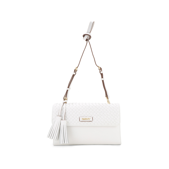 WHITE DKNY WOVEN LEATHER CROSSBODY Outlet Online