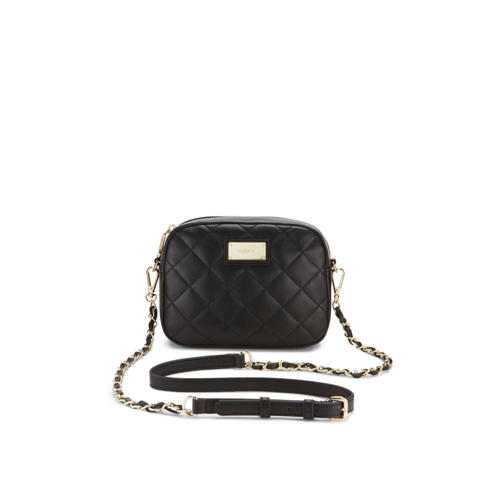 BLACK DKNY QUILTED LEATHER CHAIN CAMERA BAG Outlet Online