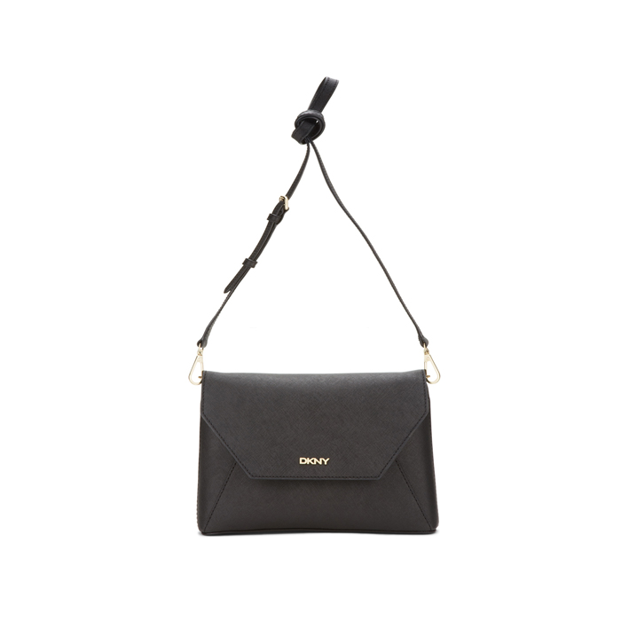 BLACK DKNY SAFFIANO LEATHER FLAP CROSSBODY Outlet Online