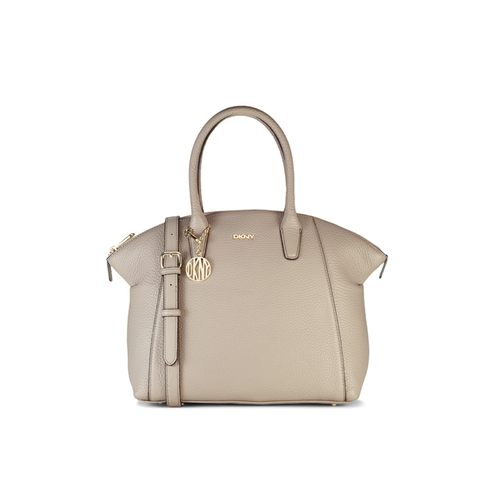 CEMENT DKNY TUMBLED LEATHER TOP ZIP SATCHEL Outlet Online