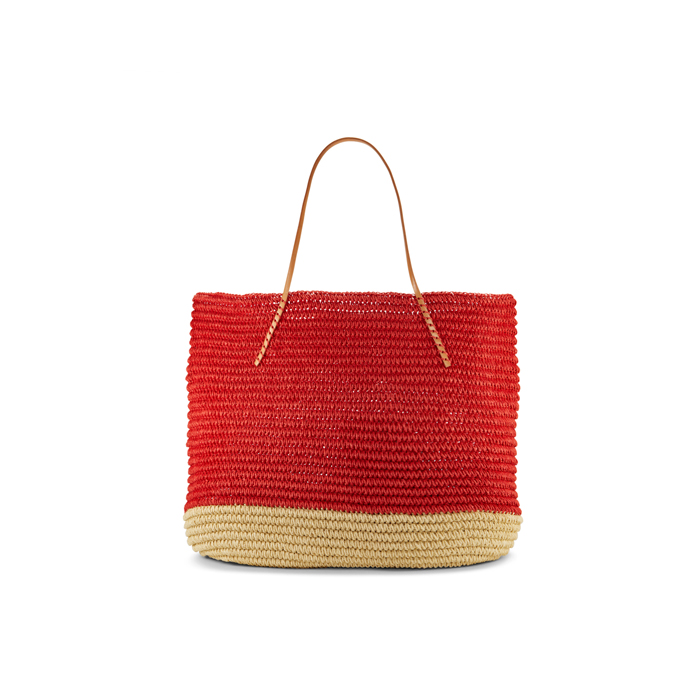 RED DKNY LARGE TWISTED COLORBLOCK TOTE Outlet Online