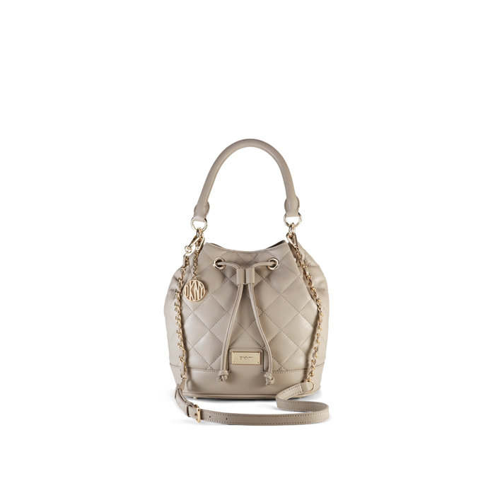 CEMENT DKNY QUILTED LEATHER BUCKET BAG Outlet Online