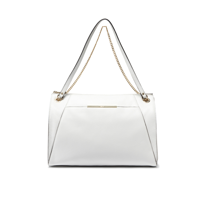 WHITE DKNY TUMBLED LEATHER SQUARE HOBO Outlet Online