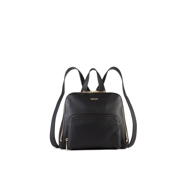 BLACK DKNY TUMBLED LEATHER ZIP BACKPACK Outlet Online