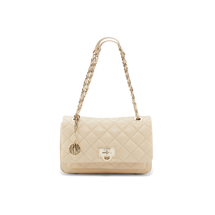 SAND DKNY QUILTED LEATHER CHAIN SHOULDER BAG Outlet Online
