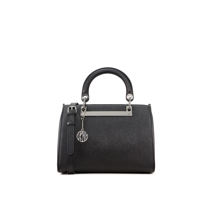 BLACK DKNY SAFFIANO ROUND HANDLE LEATHER SATCHEL Outlet Online
