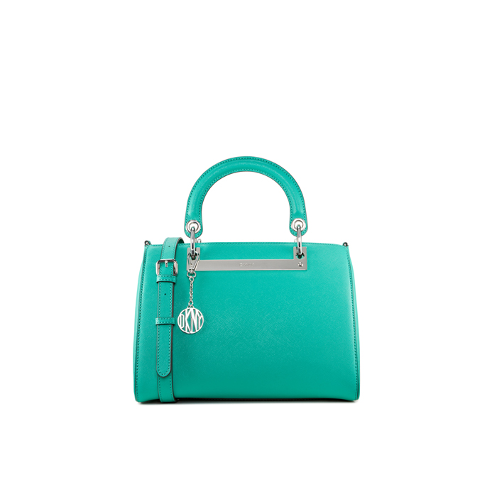 GREEN DKNY SAFFIANO ROUND HANDLE LEATHER SATCHEL Outlet Online