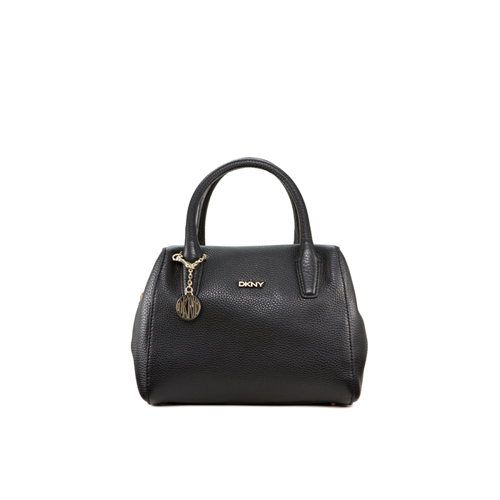 BLACK DKNY SMALL TUMBLED LEATHER SATCHEL Outlet Online
