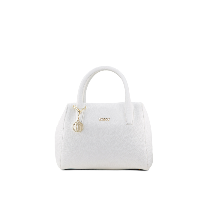 WHITE DKNY SMALL TUMBLED LEATHER SATCHEL Outlet Online