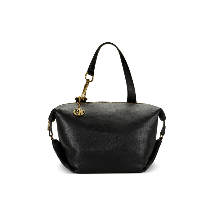 BLACK DKNY ONE HANDLE LEATHER SATCHEL Outlet Online