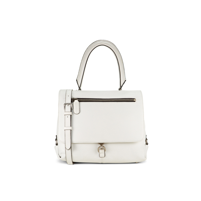 WHITE DKNY LEATHER FLAP TOP HANDLE BAG Outlet Online