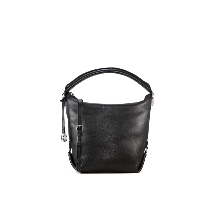 BLACK DKNY TOP ZIP LEATHER BUCKET BAG Outlet Online