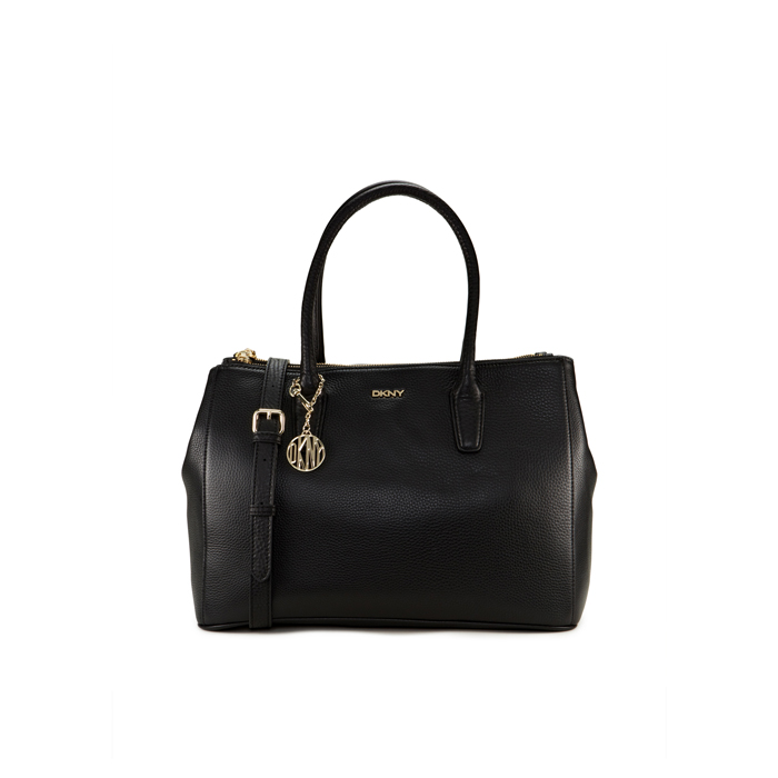 BLACK DKNY TUMBLED LEATHER DOUBLE ZIP SHOPPER Outlet Online