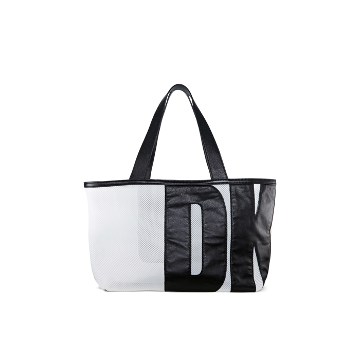 WHITE-BLACK DKNY MESH EAST/WEST SHOPPER Outlet Online