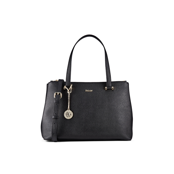 BLACK DKNY SAFFIANO LEATHER DOUBLE ZIP SHOPPER Outlet Online