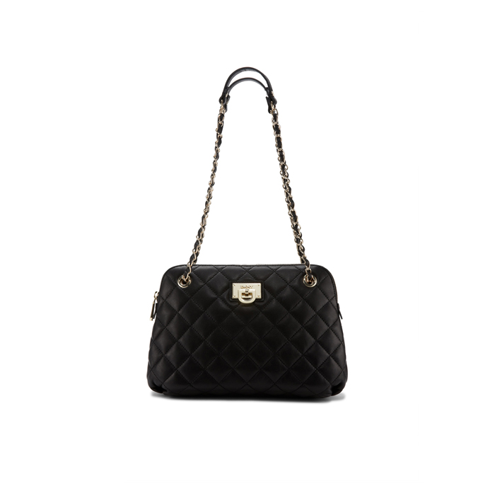 BLACK DKNY QUILTED LEATHER ROUND CROSSBODY Outlet Online
