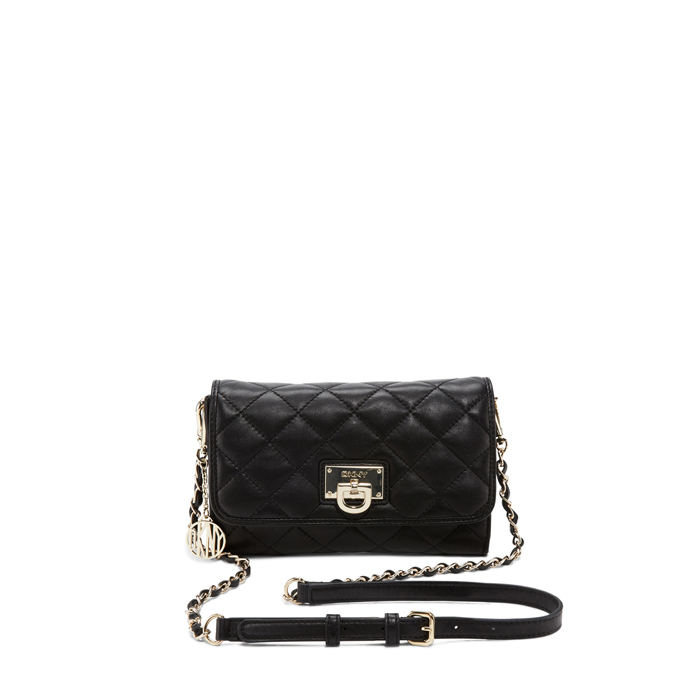 BLACK DKNY QUILTED LEATHER SMALL FLAP CROSSBODY Outlet Online