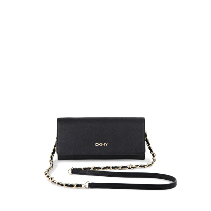 BLACK DKNY SAFFIANO LEATHER WALLET CLUTCH Outlet Online