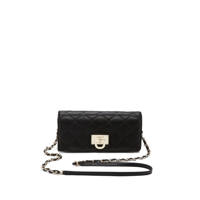 BLACK DKNY QUILTED LEATHER WALLET CLUTCH Outlet Online