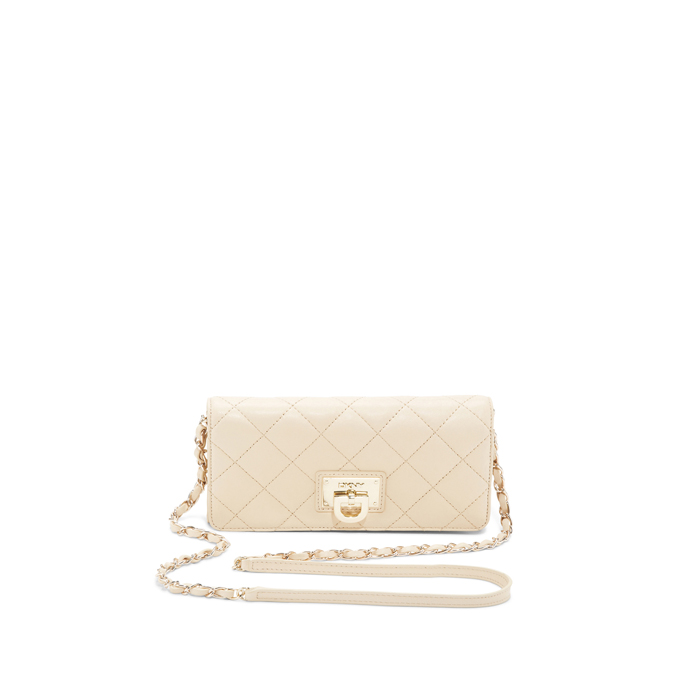 SAND DKNY QUILTED LEATHER WALLET CLUTCH Outlet Online