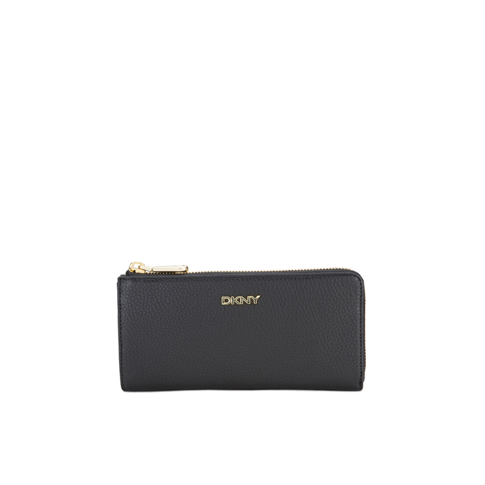 BLACK DKNY TUMBLED LEATHER HALF ZIP WALLET Outlet Online