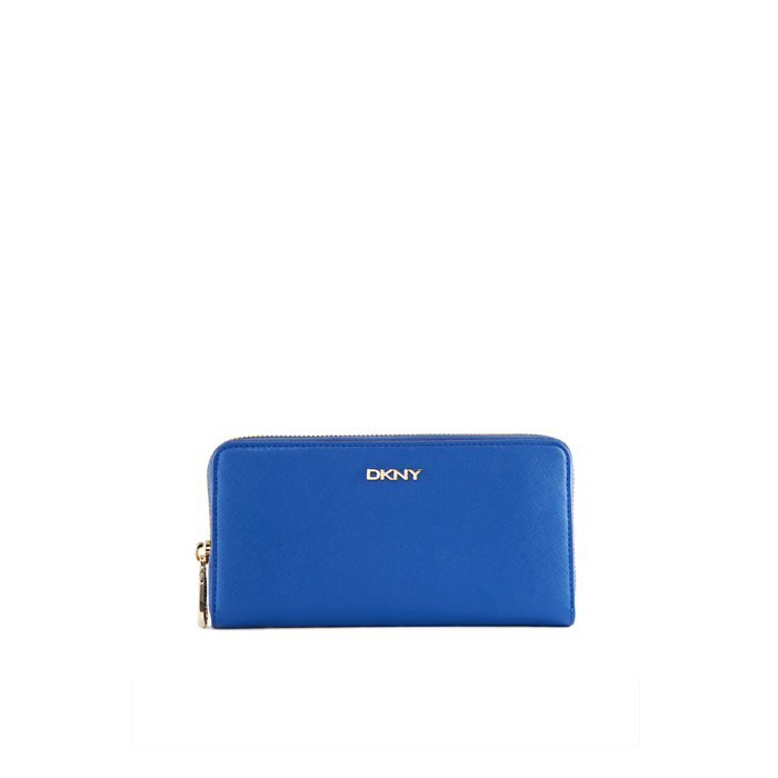 BLUE DKNY SAFFIANO LEATHER LARGE WALLET Outlet Online