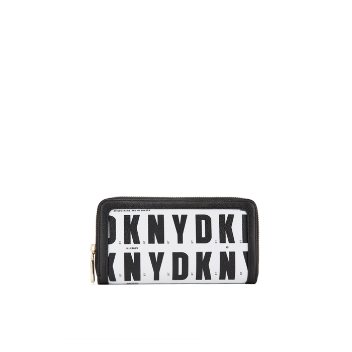 BLACK HQ DKNY LOGO ZIP AROUND WALLET Outlet Online