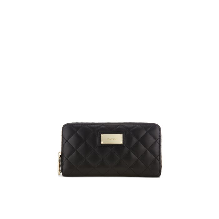 BLACK DKNY QUILTED LEATHER ZIP AROUND WALLET Outlet Online