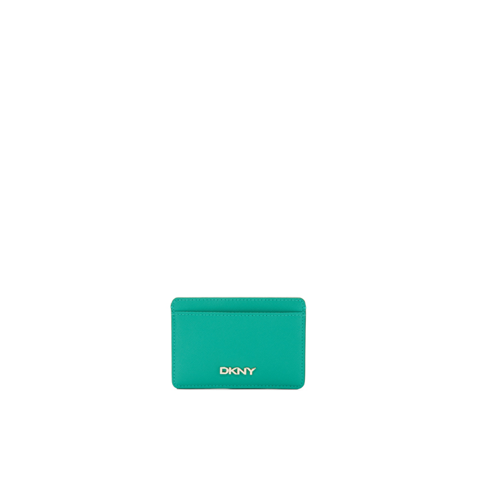 GREEN DKNY SAFFIANO LEATHER CARD HOLDER Outlet Online