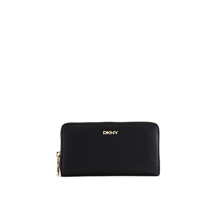 BLACK DKNY SAFFIANO LEATHER LARGE WALLET Outlet Online
