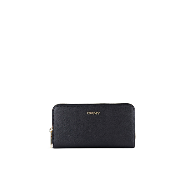 BLACK DKNY SAFFIANO LEATHER LARGE ZIP AROUND Outlet Online