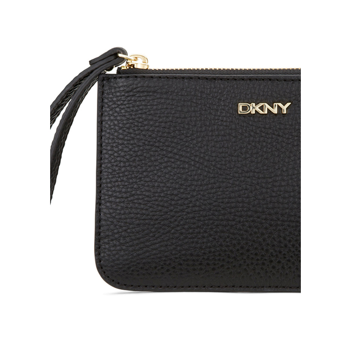 BLACK DKNY TUMBLED LEATHER WRISTLET POUCH Outlet Online
