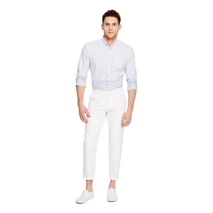 WHITE DKNY CROPPED COTTON LINEN PANT Outlet Online