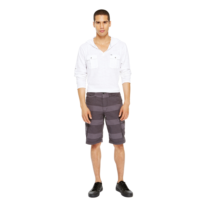 BLACK DKNY JEANS STRIPE CANVAS SHORTS Outlet Online