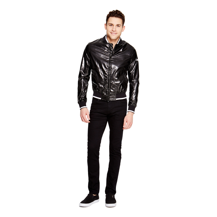 BLACK DKNY COATED COTTON BOMBER JACKET Outlet Online