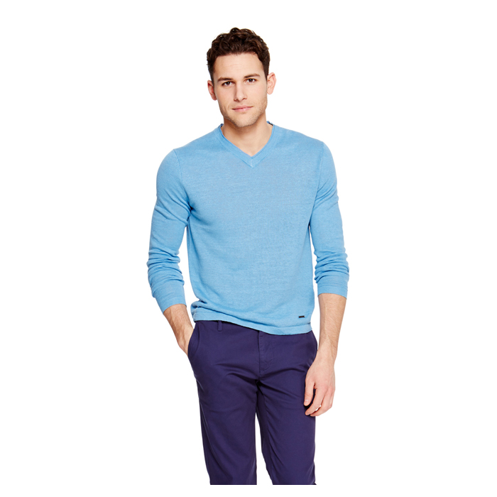 PARISIAN BLUE DKNY V-NECK LINEN SWEATER Outlet Online
