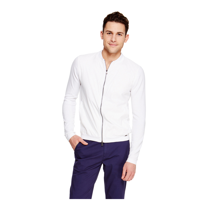 WHITE DKNY ZIP FRONT SWEATER Outlet Online