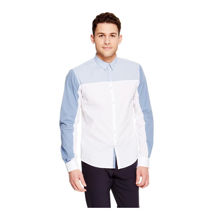 STEEL BLUE DKNY TRIPLE COLORBLOCKED SHIRT Outlet Online