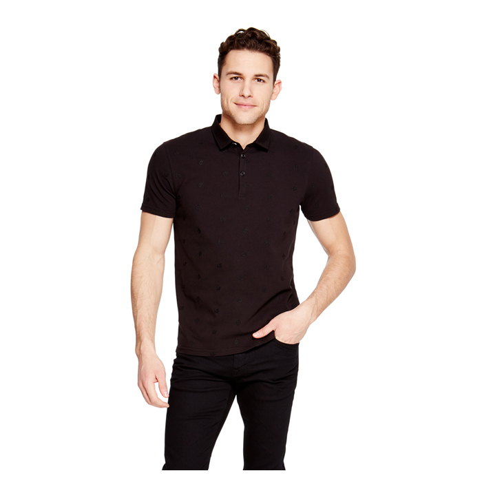 BLACK DKNY EMBROIDERED POLO Outlet Online