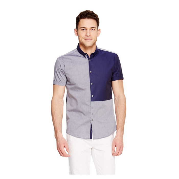 DRESS BLUE DKNY COLORBLOCKED SHORT SLEEVE SHIRT Outlet Online